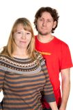 A young Caucasian couple on white background Royalty Free Stock Photography