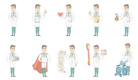 Young caucasian doctor vector illustrations set. Stock Images