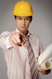 Young caucasian engineer pointing at you Royalty Free Stock Photo