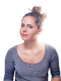 Young Caucasian Female With Gray Eyes And Brown Hair Royalty Free Stock Photo