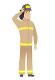 Young caucasian firefighter scratching his head. Caucasian firefighter scratching his head. Full length of thoughtful firefighter scratching head. Puzzled Stock Photo