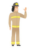 Young caucasian firefighter waving his hand. Full length of firefighter waving hand. Firefighter making greeting gesture - waving hand. Vector flat design Royalty Free Stock Images