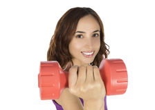 Young caucasian fitness woman lifting weight Royalty Free Stock Photos