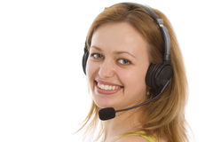 Young caucasian girl in the call center Stock Photo