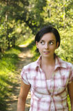 Young Caucasian girl on a hiking path Stock Photography
