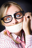 Silent face of business fear and stress Royalty Free Stock Image