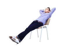 Young caucasian handsome man sitting on the chair isolated Stock Image