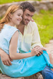 Young Caucasian Happy and Smiling Lovers Together Embraced. Usin Royalty Free Stock Photos