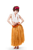 Young caucasian hula dancer Royalty Free Stock Photos