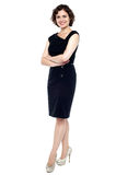 Young caucasian lady in black dress Royalty Free Stock Image