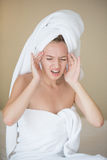 Young caucasian lady having headache Royalty Free Stock Images