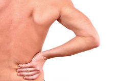 Young caucasian man. With pain in a back isolated on white Stock Photo