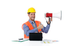 Young caucasian man architect, thumb up, megaphone Royalty Free Stock Photo