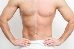 Man with bare-chested before and after waxing hair