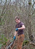Young Man Clearing Bush with Machete Stock Images