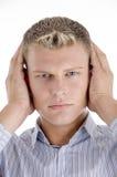 Young caucasian man concentrating Stock Photos