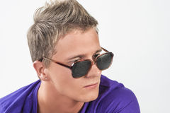 Young Caucasian Man in Eyeglasses Staring Away Royalty Free Stock Photos
