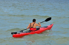 Young caucasian man kayaking Royalty Free Stock Photography