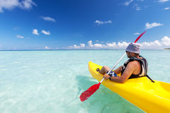 Young caucasian man kayaking Stock Images