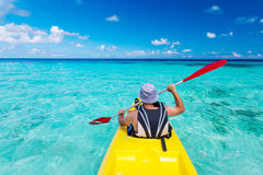 Young caucasian man kayaking Stock Photos