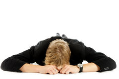 Young caucasian man, lying prone Royalty Free Stock Images