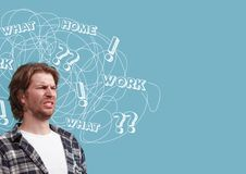 Young caucasian man with mixed thoughts royalty free illustration