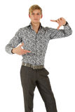Young caucasian man model, focussing Royalty Free Stock Images