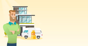 Young caucasian man moving to a house. Royalty Free Stock Images