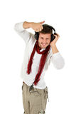 Young caucasian man, music listening Royalty Free Stock Images