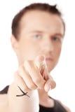 Young caucasian man, pointing at camera. Royalty Free Stock Photos