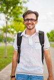 Young caucasian man portrait. Outdoor Royalty Free Stock Photo