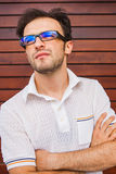 Young caucasian man portrait. Outdoor Royalty Free Stock Photos