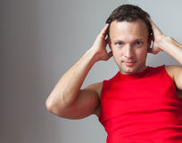 Young Caucasian man in red sporty shirt Stock Photography