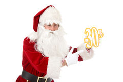 Young caucasian man Santa Claus, discount Royalty Free Stock Images
