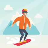 Young caucasian man snowboarding. Stock Photography