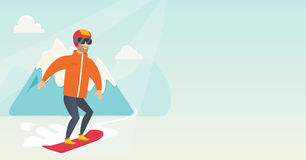 Young caucasian man snowboarding. Royalty Free Stock Images