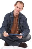 Young caucasian man studying Royalty Free Stock Photography