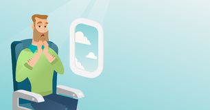 Young caucasian man suffering from aerophobia. royalty free illustration
