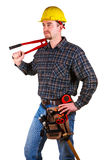 Young caucasian man tool cut. Isolated young caucasian man tool cut Stock Image