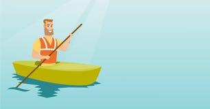 Young caucasian man travelling by kayak. Stock Photos