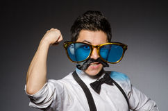 Young caucasian man wearing sunglasses against Royalty Free Stock Photo