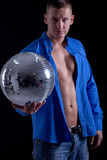 Young caucasian sexy muscled attractive handsome man with disco Royalty Free Stock Image
