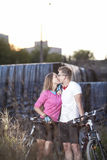 Young Caucasian Sports Couple Dating Outdoors With MTB Bikes Royalty Free Stock Photo