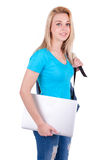 Young caucasian student  girl holding a laptop - Caucasian peopl. Young caucasian student  girl holding a laptop, isolated on white background - Caucasian people Stock Image