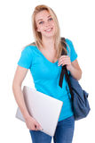 Young caucasian student  girl holding a laptop - Caucasian people. Young caucasian student  girl holding a laptop, isolated on white background - Caucasian Royalty Free Stock Images