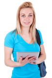 Young caucasian student  girl using a tactile tablet Royalty Free Stock Photography