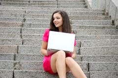 Young caucasian student women with laptop Stock Images