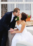 Young caucasian wedding  couple kissing Royalty Free Stock Image