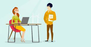 Multiracial engineers projecting wind turbines. Young caucasian white and asian engineers using a laptop and projecting wind turbines. Workers of wind farm Royalty Free Stock Image