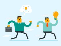 Caucasian white man stealing idea from businessman. Young caucasian white man running away with stolen idea from businessman. Thief stealing idea from Royalty Free Stock Images